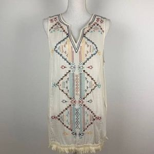 Embroidered Fringe Tunic Tank by Knox Rose